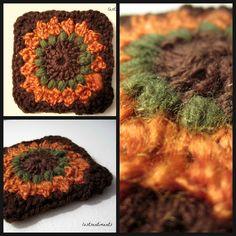 Sunburst Flower Granny Square - link to patterns in post.