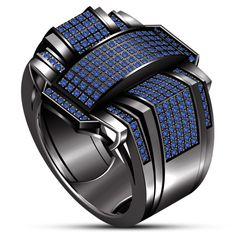 """"""""""" Black Gold Plated 925 Silver Men's Blue Sapphire Band Engagement Pinky Ring """""""" """""""" Black Gold Jewelry, Black Rings, Silver Rings, Ring Boy, Ring Verlobung, Sapphire Band, Blue Sapphire, Blue Topaz, Silver Man"""