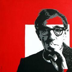 Portrait of Woody Allen by David Mack. Acrylic on canvas.