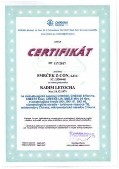 ertifikát Chirana Radim Letocha