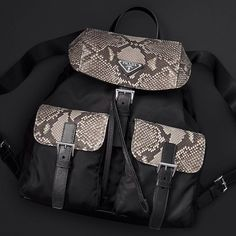 """""""Prada holiday gifts 2015.  Fabric backpack with leather details."""""""