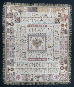 """Hexagon Quilt; IQSC Museum; 81"""" x 97""""; dated 1853; English paper pieced; cotton; maker unknown, English"""
