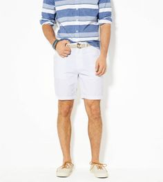 Striped Button Down + White Shorts from American Eagle