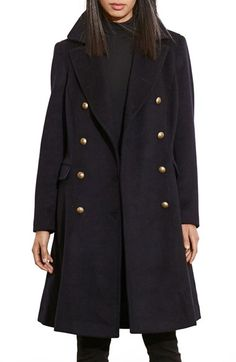Free shipping and returns on Lauren Ralph Lauren Skirted Wool Blend Military Coat at Nordstrom.com. Bold lapels top this militaristic double-breasted coat that fastens with golden domed buttons stamped with signature logo insignia. Made from a sturdy woolen blend and flared to a skirted, knee-grazing finish, it's a classic outer layer that will keep you shielded and in style for seasons to come.