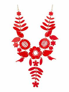 Mexican Embroidery Necklace - Red for House of Fraser