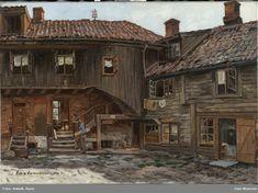 Nedre Hammersborgt. 10 [Oljemaleri] Oslo, Norway, Museum, Cabin, House Styles, Home Decor, Pictures, Decoration Home, Room Decor