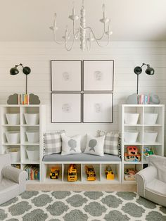 Thanks to I now have the boys' sweet faces front and center in thYou can find Kids space and more on our website. Ikea Playroom, Small Playroom, Ikea Kids Room, Toddler Playroom, Playroom Design, Kids Room Design, Kids Bedroom, Playroom Ideas, Ikea For Kids
