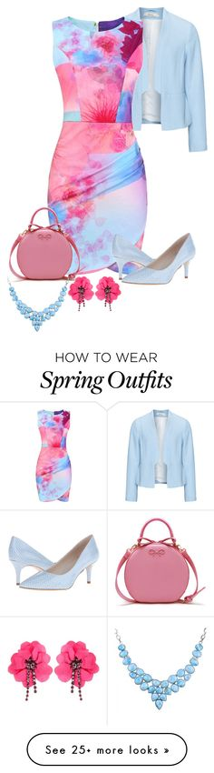 """Pink and Blue Welcome Spring"" by nightwisp on Polyvore featuring Zizzi, Nine West and Lanvin"