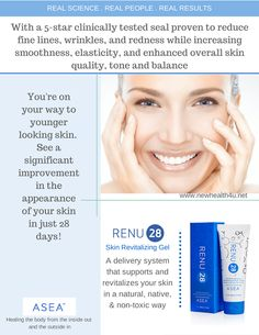 28 Days To A Younger YOU Real People . Real Science . Real Results www.newhealth4u.net #asea #renu28 #28daysyounger