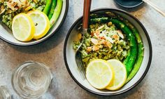 This fresh, vegan rice bowl gets a hefty dose of flavor from an almond-basil pesto and fresh lemon slices. It's a prime example of how healthy can be...