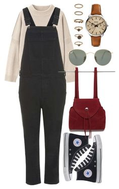 """""""Untitled #6109"""" by rachellouisewilliamson on Polyvore featuring Toast, Topshop, Converse, Forever 21, FOSSIL and Ray-Ban"""