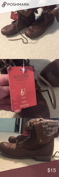 New brown boots, size 6.5 Mission supply co from target, never worn with tags, size 6.5 brown fold boots Mossimo Supply Co. Shoes Ankle Boots & Booties