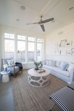 Search images of sunroom layouts as well as style. Discover ideas for your four seasons room enhancement, including inspiration for sunroom decorating and designs. Living Room Furniture, Living Room Decor, Sunroom Decorating, Sunroom Ideas, Rustic Sunroom, Coastal Living Rooms, Coastal Rugs, Coastal Bedrooms, Coastal Decor