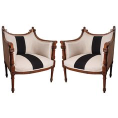 Pair of French Carved Walnut Bergere, love stripes! Unique Furniture, Vintage Furniture, Home Furniture, Funky Furniture, Love Chair, Love Seat, Piano Room Decor, Black And White Chair, White Chairs