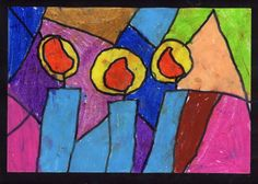 Stained Glass Candles. Art Projects for Kids #candles #christmascard #oilpastel #artprojectsforkids