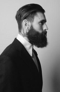 ricki hall, hair and beard Beard Styles For Men, Hair And Beard Styles, Long Hair Styles, Slick Back Undercut, Undercut Hair, Hair Updo, Curly Hair, Ricki Hall, Beard Love