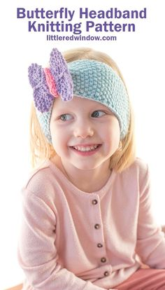 This cute little knit butterfly headband knitting pattern will keep your little one's ears warm and cozy and make them smile with a cute colorful butterfly perched on top! Easy Knitting Patterns, Baby Patterns, Knitting Supplies, Knitting Projects, Knit Headband Pattern, Kawaii Crochet, Kids Headbands, Quick Knits, Seed Stitch