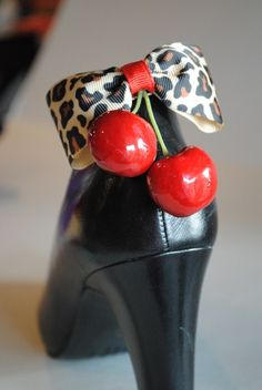 Cherry & Leopard Shoe Clip - wonder if I could get away with putting these on my flip flops or my booots