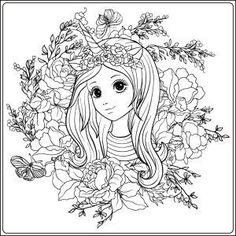 Kostenloses Ausmalbild Einhornmädchen. Das Bild mit dem hübschen Mädchen ist eingebettet in Blumen.   Kostenlos zum ausdrucken auf www.mandala-malen.net