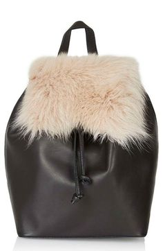 Topshop Shearling & Leather Backpack available at #Nordstrom