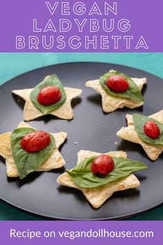 These ladybug bruschetta are a cuter, lighter, healthier, and less messy version of traditional bruschetta. What better way to welcome springtime than making a picnic friendly recipe that is vegan and can be easily converted to oil free or gluten-free. These make a fun appetizer or tea party snack for any gathering of friends. #vegan #ladybugs #spring #kidfood #recipe #cute #picnic #appetizer #fun #partyfood #vegandollhouse Ladybug Appetizers, Vegan Appetizers, Vegan Snacks, Vegan Food, Appetizer Recipes, Cute Snacks, Party Snacks, Cute Food, Healthy Meals For Kids
