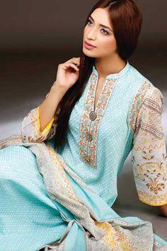 Z2453PVASPL-BOHEMIA BLUE-93 Checkout our #latest #pakistani #suits @ http://zohraa.com/salwar-kameez/suits-dresses/pakistani-suits.html Sleeve colour contrast in this cotton suit is perfect