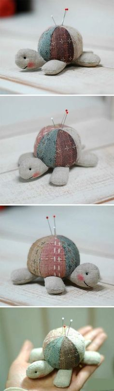 Alfiletero... Turtle pin cushion