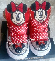 Custom Minnie Mouse Swarovski Crystal Rhinestone Converse Shoes - Minnie  Mouse Birthday - Minnie Par 581589ec0f5