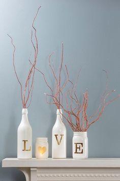 Love, Mason Jars, Wine Bottle, Lights