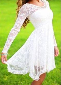 white long sleeve dress lace - Google Search