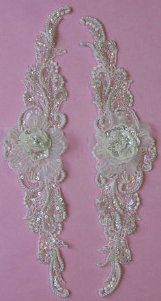 Pair of 2 Beaded Ivory Lace Appliques - VIRGINIA