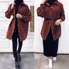 Modern Hijab Fashion, Hijab Fashion Inspiration, Muslim Fashion, Korean Fashion, Blouse And Skirt, Long Blouse, Back To University, Vetement Fashion, Casual Hijab Outfit