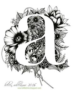 Playing kind of devil's advocate of my last selection the use of negative space to create the letter form is interesting with this design. I enjoy highly detailed floral designs and I think this is beautiful. Negative Space Tattoo, Learn To Sketch, Fancy Letters, Zentangle Patterns, Zentangles, Typography Letters, Letter Art, Art Plastique, Colouring Pages