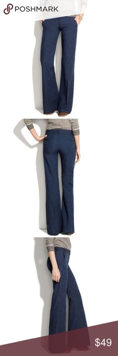 """Madewell Widelegger Jeans in Explorer Wash Madewell Widelegger Jeans in Explorer Wash (Item #39456). Belted waistband, sits above the waist and are made of a lightweight denim. These jeans are fitted through waist and hip, with a wide leg.  Fabric Content: 100% Cotton  Care: Machine Wash Measurements: Inseam: 30"""" Waist: 14.5"""" Leg Opening (doubled): 23 ¼"""" Front Rise: 9"""" Back Rise: 12"""" Hips: 17"""" Madewell Jeans Flare & Wide Leg"""