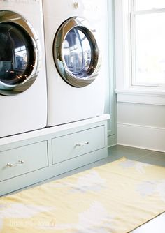Don't spend a fortune a piece for the washer / dryer stands....DIY YOU SOME!