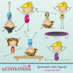 Gymnastics Stick Figures Cute Digital Clipart by JWIllustrations, $5.00
