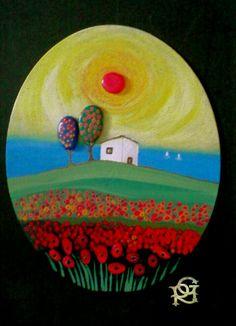 Tra l'azzurro del mare e il rosso dei papaveri -Painted Stones di Rosaria Gagliardi