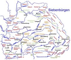 Karte von Siebenbürgen mit Flüssen von Heinz Heltmann Portal, Heinz, Family Roots, Folk Music, German, History, Maps, Romania, Hungary