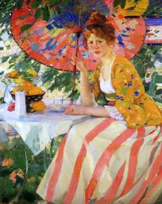 melon, yellow, blues whites...color combination  Red Headed Girl with a Parasol, Karl Albert Buehr