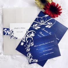 vintage damask royal blue pocket wedding invitation cards EWPI055