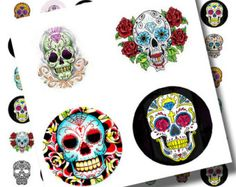 Day of the Dead..Dia de Los Muertos..Sugar Skull Tattoos..1 Inch Circles..Digital Collage Sheet no. 355