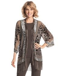 Travelers Collection Fringed Burnout Velvet Jacket