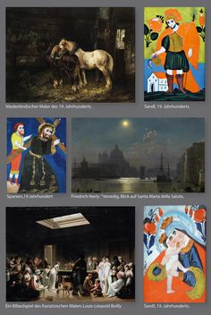 """Und hier eine Gegenüberstellung der damaligen Malerei des 19.Jahrhunderts und der in der gleichen Zeit entstandenen populären Hinterglasmalerei, die als die """"Kunst für das Volk"""",  den Weg in die Stuben fand. Die Künstler des 20. Jahrhunderts, Kandinsky, Marc etc., begeisterten sich für diese Volkskunst, die sie inspirierte und die sie sammelten."""
