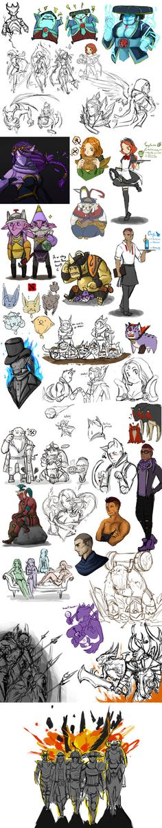 a lot of dota 2 sketching by spidercandy