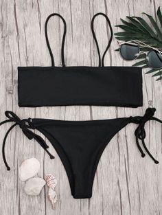 Bandeau Bikini Top And Tieside String Bottoms - Black M