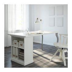 KLIMPEN / LALLE Desk with storage, white, gray white/gray 47 1/4x23 5/8
