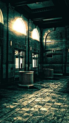 Old train station waiting room