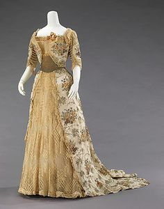 French Ball Gown - circa 1905 -  rich silk dress with rhinestones designed by Gustave Beer who designed elegant dresses.