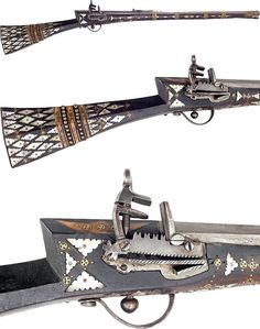 Ottoman miquelet lock, 18th century, 28 1/2 .50 cal barrel, with swamped muzzle is mounted with a copper sight and deeply rifled. The open rear sight has a hinged graduated peep sight. The miquelet lock is of fine quality. The wood stock is profusely inlaid with scalloped edge mother of pearl diamonds and triangles and the field with brass piques and wheel shaped inlays. The butt with alternate bands of brass inlaid ivory and brass tacks. http://www.faganarms.com/