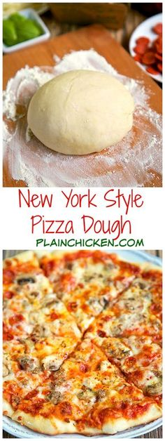New York Style Pizza Dough Recipe - only 4 ingredients to make the best pizza dough - this dough is so easy to work with! Make the dough and refrigerate until ready to use. Can make up to 3 or 4 days in advance. Come get tips to make THE BEST pizza! Think Food, Love Food, New York Style Pizza Dough Recipe, Best Pizza Dough Recipe, Italian Pizza Dough Recipe, Pizza Dough Recipe Quick, Tasty Vegetarian, Paleo Food, Pizza Recipes